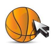 Basketball ball with cursor arrow - sport shopping Royalty Free Stock Photos