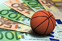 Basketball ball euro banknotes concept. Basketball ball on euro banknotes concept Stock Photography