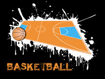 Basketball ball and field on a background of blots of paint. Abstract basketball background. Basketball ball and field on a background of blots of paint. Vector Stock Photos