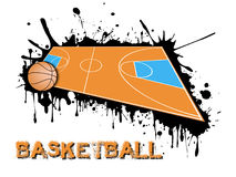 Basketball ball and field on a background of blots of paint. Abstract basketball background. Basketball ball and field on a background of blots of paint. Vector Royalty Free Stock Photography