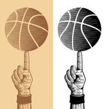 Basketball Ball On The Finger 2 Stock Images
