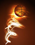 Basketball ball on fire Stock Photo