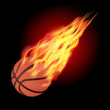 Basketball ball in fire. Basketball in fire flying down.  on dark background. Vector illustration Royalty Free Stock Images