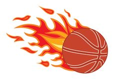 Basketball ball in fire. Vector illustration of basketball ball in fire Stock Photos