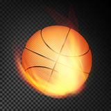 Basketball Ball In Fire Vector Realistic. Burning Basketball Ball. Transparent Background. Basketball Ball Vector Realistic. Orange Basketball Ball In Burning Royalty Free Stock Image