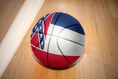 Basketball ball with the flag of mississippi state Royalty Free Stock Photos