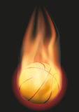 Basketball ball with flame. Burning Basketball ball with a tail of flame. Vector illustration  on background Stock Photos