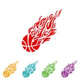 Basketball ball in flame sneakers vector icon Stock Photo