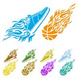 Basketball ball in flame sneakers vector icon Stock Image