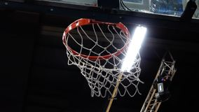 Basketball, the ball flies into the basket stock video footage