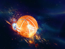 Basketball Ball Flies. Purple space background with basketball ball, explosion effect Stock Images