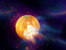 Basketball Ball Flies. Purple space background with basketball ball, explosion effect Royalty Free Stock Image