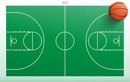 Basketball ball on green basketball field with line pattern areaใ. Basketball ball on green basketball field background with line pattern area. Vector Royalty Free Stock Photo