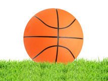 Basketball ball in green grass isolated on white Stock Image
