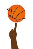 Basketball ball with hand Royalty Free Stock Photos