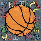 Basketball ball hand drawn poster design. Vector Stock Photo
