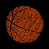 Basketball ball - hatched abstract sport logo. Print for athletic t-shirt, clothes, apparel. Vector illustration. Stock Photo