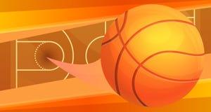Basketball ball high jump concept banner, cartoon style vector illustration
