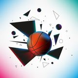 Basketball ball hit the ground with explosion of Royalty Free Stock Photos