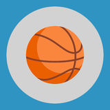 Basketball ball icon. Colorful basketball ball on a blue background. Sports Equipment. Vector Illustration. Royalty Free Stock Image