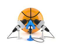 Basketball ball with interview microphones royalty free illustration