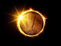 Basketball ball like solar eclipse. 3D illustration of fiery basketball ball like solar eclipse on black background Stock Photos