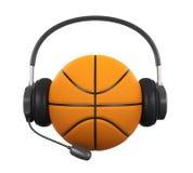 Basketball-Ball mit dem Kopfhörer lokalisiert Lizenzfreies Stockbild