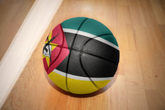Basketball ball with the national flag of mozambique Royalty Free Stock Photo