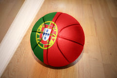 Basketball ball with the national flag of portugal Royalty Free Stock Photography
