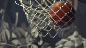 Basketball ball in the net stock video footage