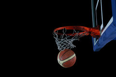Basketball ball and net on grey background Stock Photography