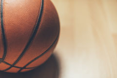 Basketball. Ball on the parquet Stock Images