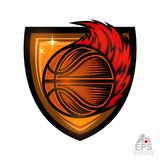 Basketball ball with red fire trail in center of shield. Sport logo for any team or competition isolated. On white vector illustration