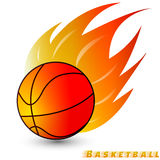 Basketball ball with red orange yellow tone fire in the white background. Logo of Basketball club. Stock Photo