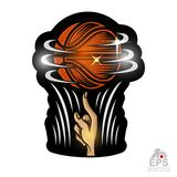 Basketball ball revolve on a fingr. Sport logo for any team or competition isolated. On white vector illustration