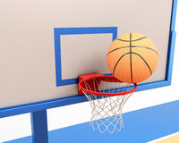 Basketball ball on the ring close-up. 3d illustration Stock Images