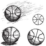 Basketball ball sketch set isolated on white background Royalty Free Stock Images