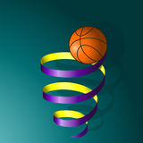 Basketball ball on a spiral of tape Royalty Free Stock Photos