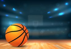 Basketball ball in sport arena with tribunes and lights. Basketball ball on wooden floor and sport arena with tribunes and lights in blurred background - vector vector illustration