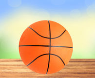 Basketball ball on the table over bight nature Stock Photos