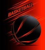 Basketball ball vector. Basketball poster with black glowing ball. Vector illustration royalty free illustration