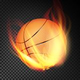 Basketball Ball Vector Realistic. Orange Basketball Ball In Burning Style Isolated On Transparent Background. Basketball Ball In Fire Vector Realistic. Burning Stock Photo