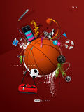 Basketball ball on the wall, graffiti Stock Photos