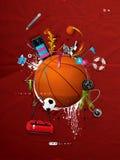 Basketball ball on the wall, graffiti. Basketball ball painted on the wall, graffiti Stock Photos