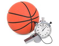 Basketball ball with whistle and stopwatch, 3D rendering. Isolated on white background royalty free illustration