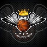 Basketball ball with wings and crown. Vector sport logo for any team. And championship vector illustration