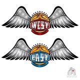 Basketball ball with wings and west and east lettering on white. Vector sport logo for any team. And championship stock illustration