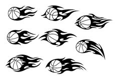 Basketball balls with fire flames. For sport tattoos design Stock Images