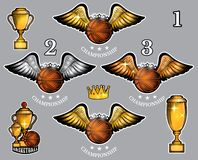 Basketball balls with wings cups and crown. Vector set of sport logo for any team. And championship royalty free illustration