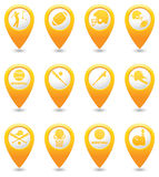 Basketball, Baseball, American football icons on map pointers Royalty Free Stock Images